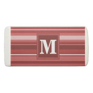 Monogram red stripes eraser