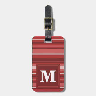 Monogram red stripes luggage tag