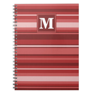 Monogram red stripes spiral notebooks