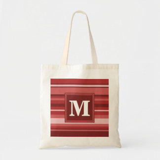 Monogram red stripes tote bag