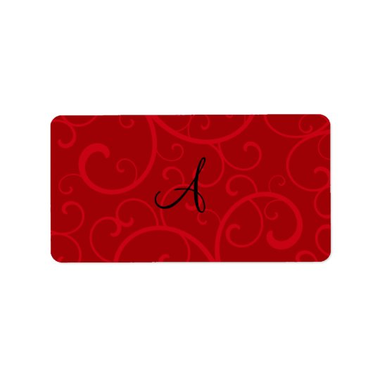 Monogram red swirls label