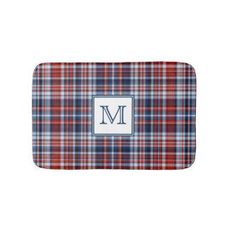 Monogram Red White and Blue Plaid Bath Mat