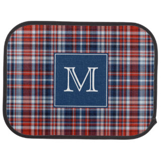 Monogram Red White and Blue Plaid Car Liners