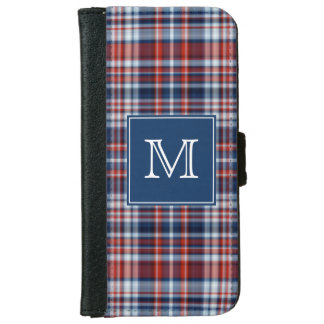 Monogram Red White and Blue Plaid iPhone 6 Wallet Case