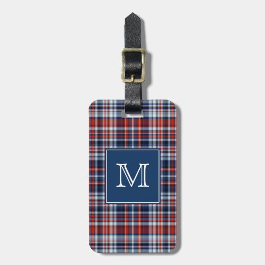 Monogram Red White and Blue Plaid Luggage Tag