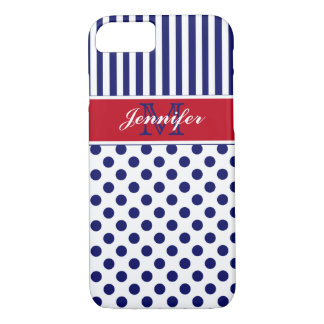 Monogram Red White Blue Striped Dots iPhone 7 Case