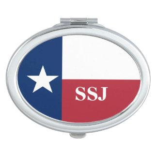 Monogram Red White Blue Texas Flag Makeup Mirrors