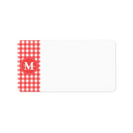 Monogram Red White Gingham Check Pattern Personalized Address Label