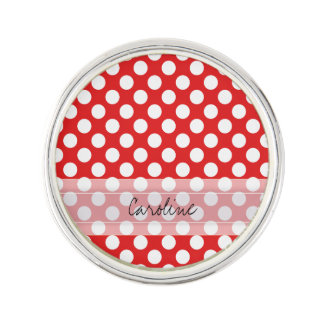 Monogram Red White Trendy Fun Polka Dot Pattern Lapel Pin