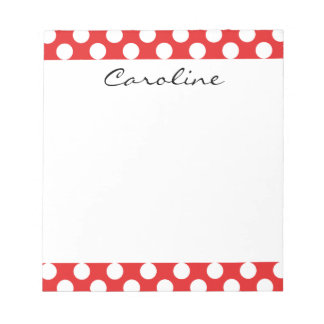 Monogram Red White Trendy Fun Polka Dot Pattern Notepad