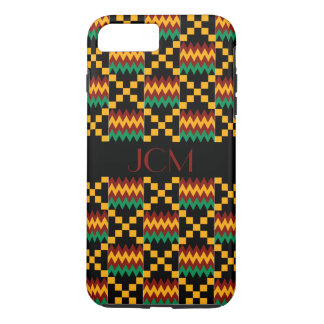 Monogram Red, Yellow, Green, Black Kente Cloth iPhone 8 Plus/7 Plus Case
