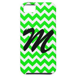 Monogram Retro Neon Fluorescent Green Chevron iPhone 5 Covers