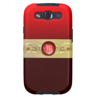Monogram Retro Red Faux Jeweled Gold Scroll Galaxy SIII Covers