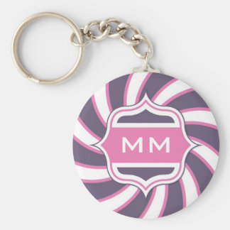 Monogram Retro Spiral Hot Pink Purple Basic Round Button Keychain