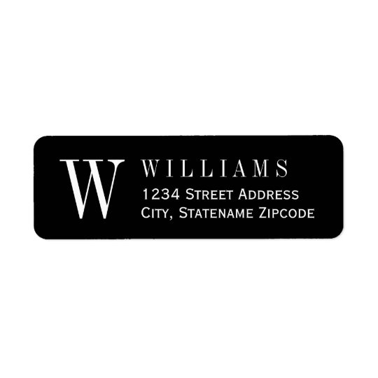Monogram Return Address | Custom Colour Return Address Label