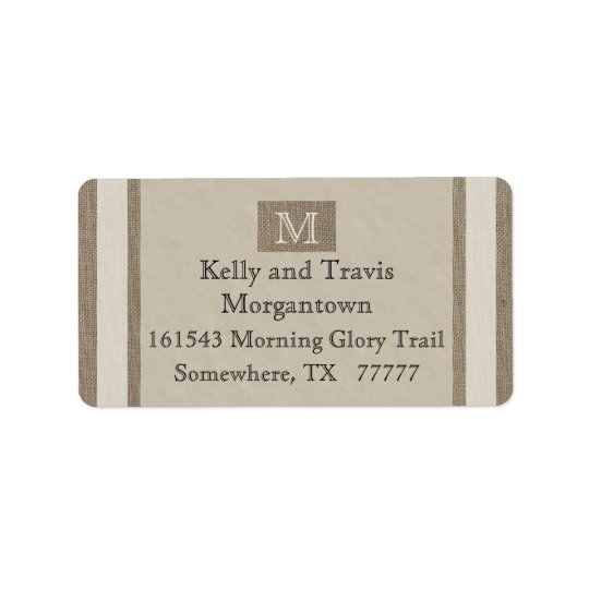 Monogram Return Address Label - Burlap Parchment