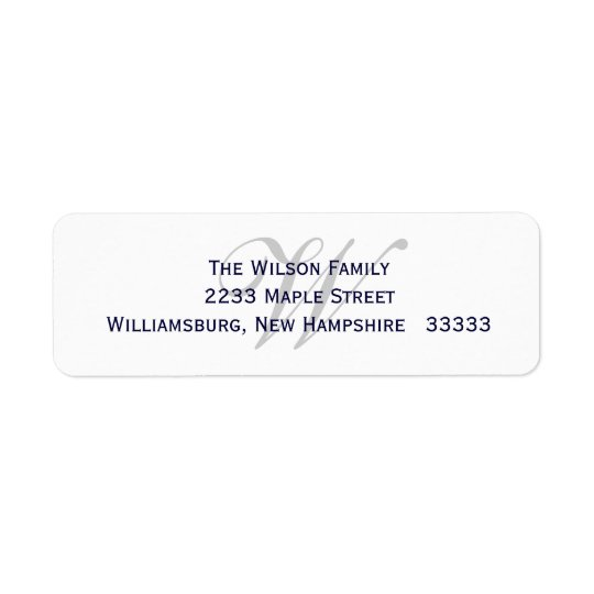 Monogram Return Label Return Address Label