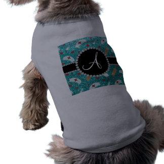 Monogram robin egg blue glitter nurse hats heart dog t-shirt