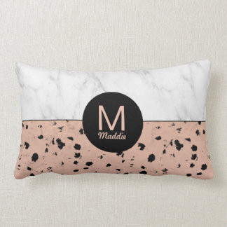 Monogram Rose Gold Animal Print and Marble Pattern Lumbar Pillow