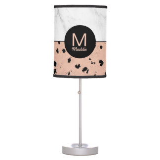 Monogram Rose Gold Animal Print and Marble Pattern Table Lamp