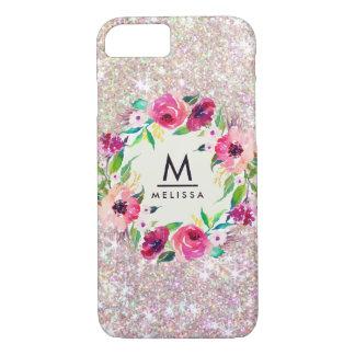 Monogram Rose Gold Glitter Case-Mate iPhone 7 Case