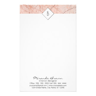 Monogram Rose Gold Marble Contact Info Stationery