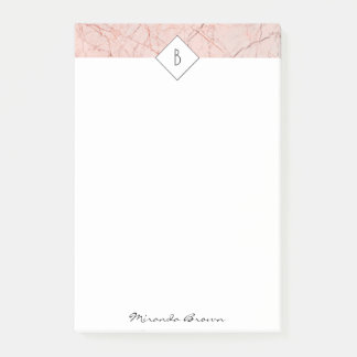 Monogram Rose Gold Marble Post-It Notes