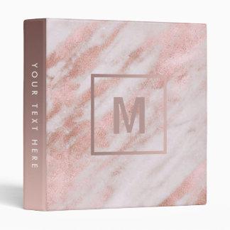 monogram rose gold marble stone binder