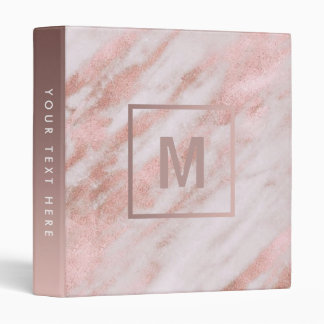 monogram rose gold marble stone binders