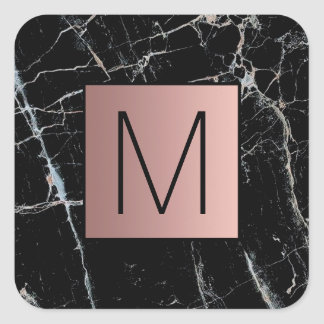 monogram rose gold on marble square sticker
