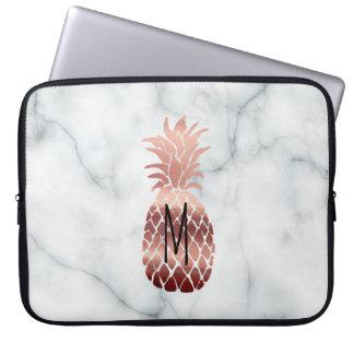 monogram rose gold pineapple laptop sleeve