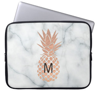 monogram rose gold pineapple on marble laptop sleeve