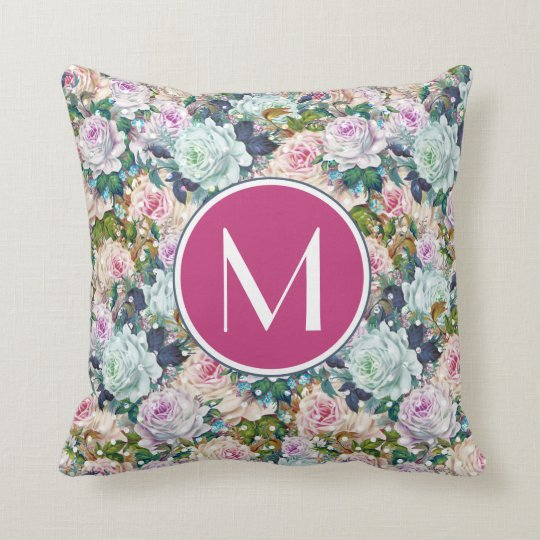 Monogram | Rose Polka Dots Throw Pillow