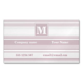 Monogram rose quartz stripes magnetic business card