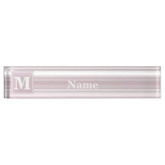 Monogram rose quartz stripes name plate