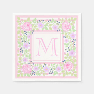 Monogram Roses Clematis Blueberry Paper Napkins
