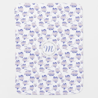 Monogram. Roses retro pattern. Swaddle Blanket