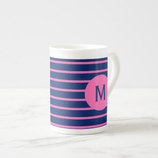Monogram Royal Blue and Hot Pink Stripes Tea Cup