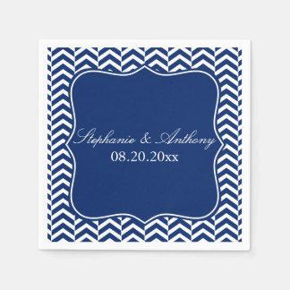 Monogram Royal Blue Chevron Pattern Wedding Paper Napkins