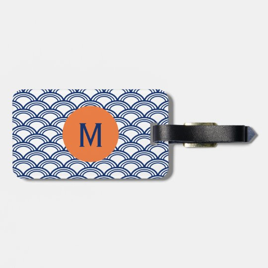 Monogram Royal Blue Seigaiha Pattern with Orange Luggage Tag
