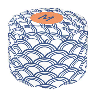 Monogram Royal Blue Seigaiha Pattern with Orange Pouf