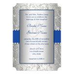 Monogram Royal Blue Silver Swirl Wedding