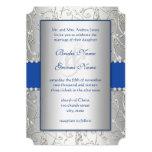 """Monogram Royal Blue Silver Swirl Wedding 5"""" X 7"""" Invitation Card"""