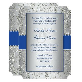 Monogram Royal Blue Silver Wedding Invitations
