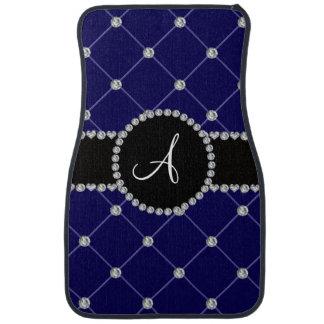 Monogram royal blue tuft diamonds car floor carpet