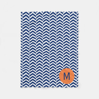 Monogram Royal Blue with Orange Chevron Pattern Fleece Blanket