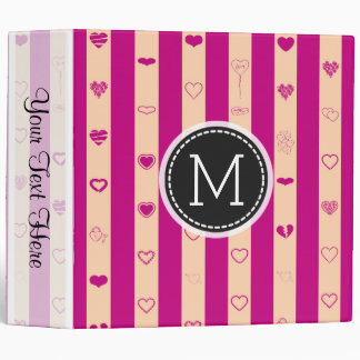 Monogram Royal Fuchsia Stripe Elegant Modern Heart Binders
