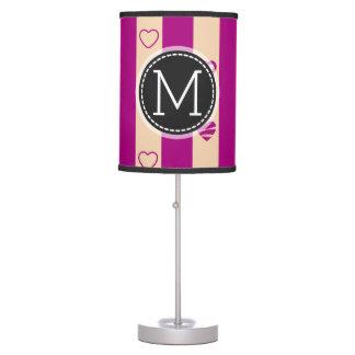 Monogram Royal Fuchsia Stripe Modern Heart Pattern Table Lamp