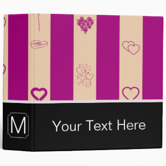 Monogram Royal Fuchsia Stripe Modern Heart Pattern Vinyl Binders