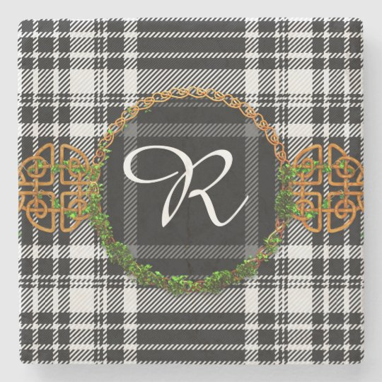 Monogram Royal Stewart Black And White Tartan Stone Coaster